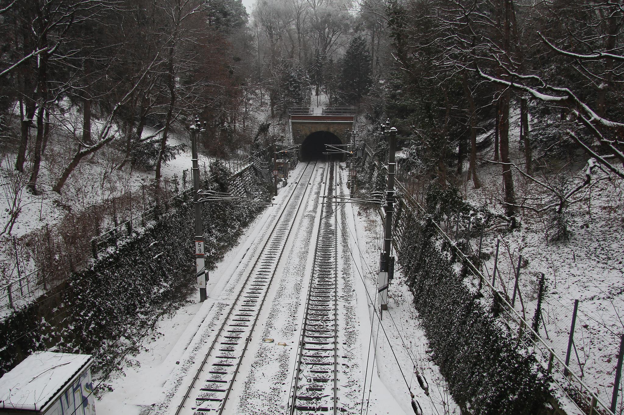 S45 track in winter through the Türkenschanzpark
