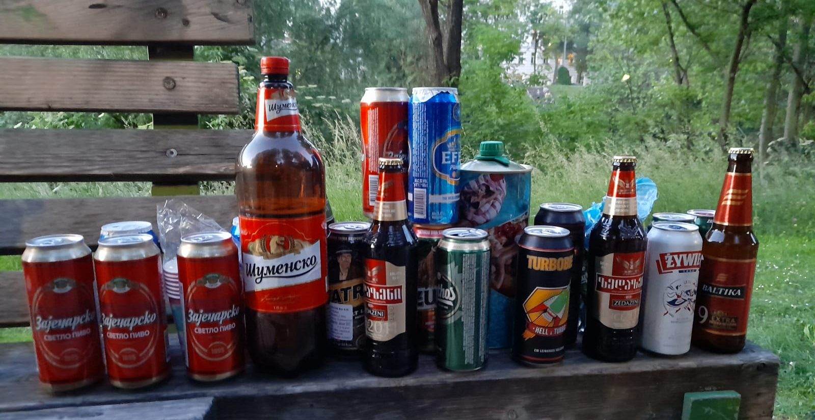a selection of beers enjoyed down by the Donaukanal